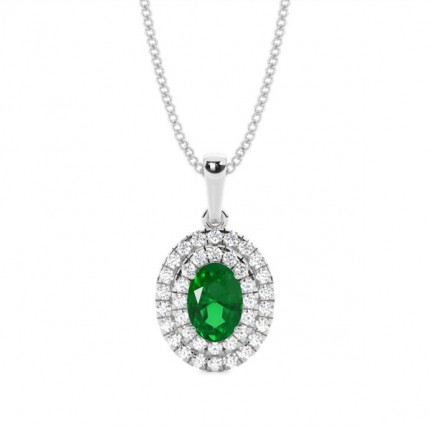 Prong Setting Oval Emerald Halo Pendent