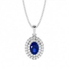 Platinum Sapphire Diamond Pendants