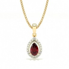 Yellow Gold Gemstone Diamond Pendants Necklaces