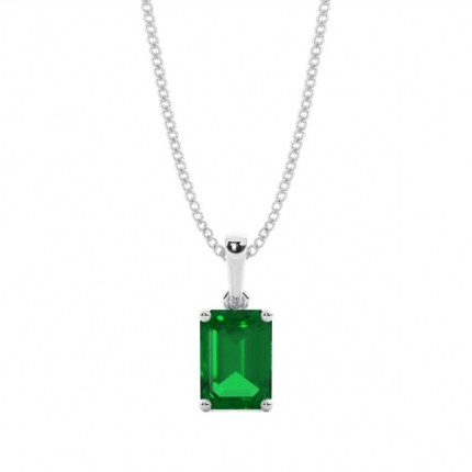 4 Prong Setting Emerald Pendent