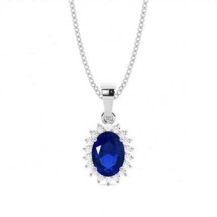 4-Stift-Einstellung Oval Blue Sapphire Pendent