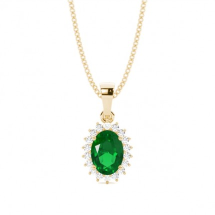 4 Prong Setting Oval Emerald Pendent