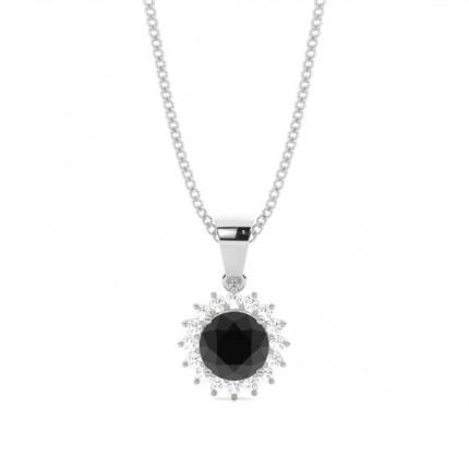 4 ajuste de punta redonda de diamante negro pendiente