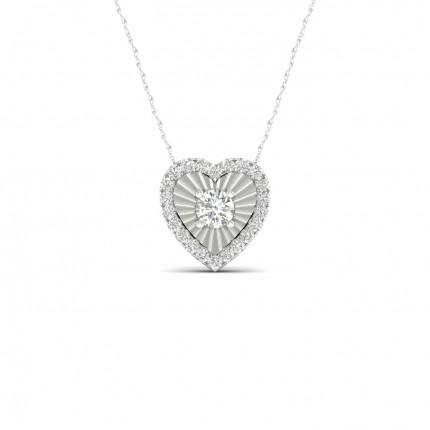 Micropave Setting Heart Diamond Pendant