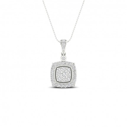 Micro PavéIndfatning Rund Diamant Klynge Vedhæng