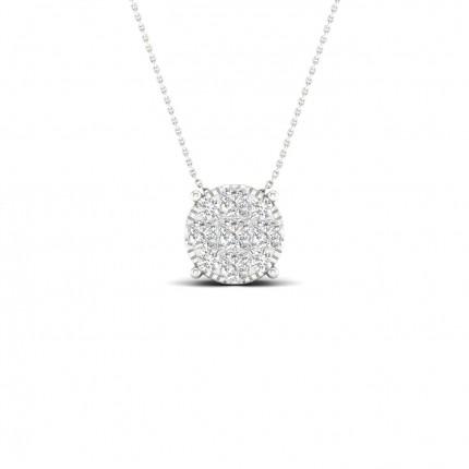 Micro Pave Setting Princess Diamond Cluster Pendant