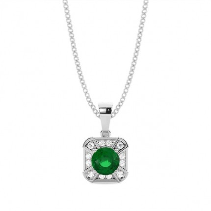 Prong Setting Emerald Halo Pendent