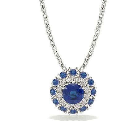 Illusion Plate Prong Setting Halo Blue Sapphire Pendant