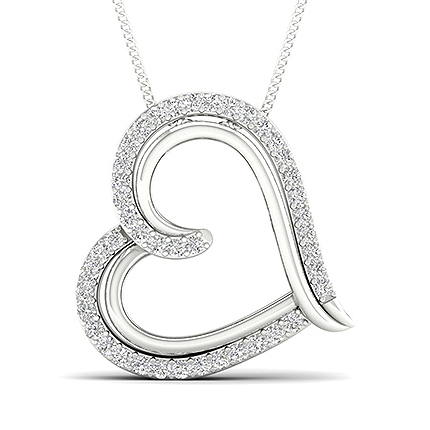 Micro Fatning Diamant Hjerte Vedhængindfatning