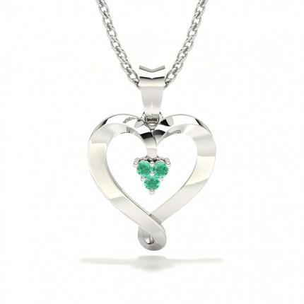 Prong Setting Emerald Heart Pendant
