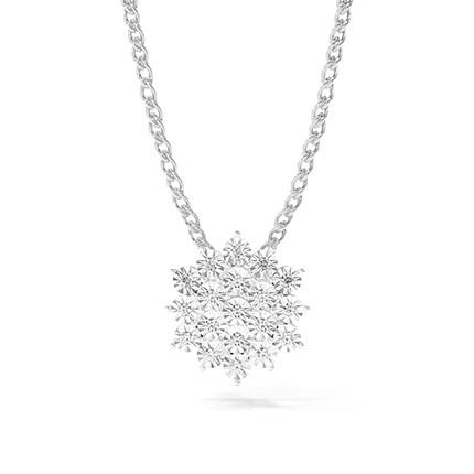 Illusionsplatte Prong-Einstellung Runder Diamant-Cluster-Anhänger