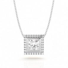 Princess Cut Diamond Pendants