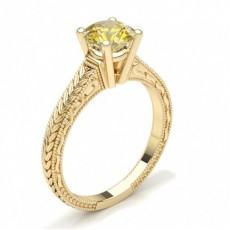Gult Gull Forlovelsesringer Med Gule Diamanter