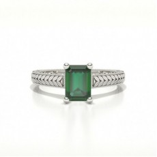 Emerald Shaped Emerald Vintage Diamond Engagement Ring