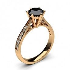 Oro rosa Anelli di fidanzamento con diamante nero