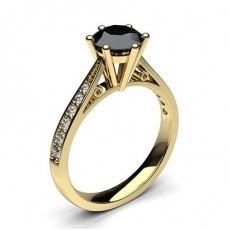 Gult Gull Svart Diamant Forlovelsesringer