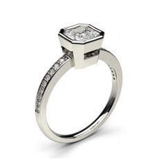Full Bezel Setting Thin Side Stone Engagement Ring