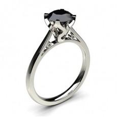 Anillo De Diamante Negro De Compromiso Fino Con 4 Clavijas