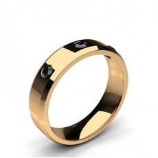 Rose Gull Svart Diamant Bryllupsbånd for Kvinner