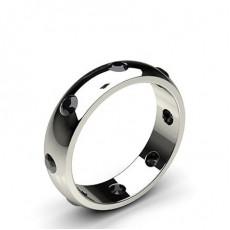 Rund Svart Diamant Bryllupsbånd for Kvinner