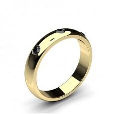 Gult Gull Svart Diamant Bryllupsbånd for Kvinner