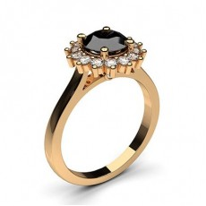 Or Rose Bague Diamant Noir