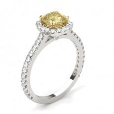 4-Dels Gul Diamant Halo Forlovelsesring