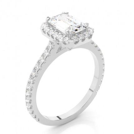 Klofattning Halo Diamant Förlovningsring