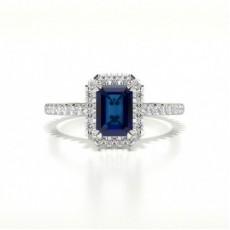 Smaragd Halo Blue Sapphire Verlobungsring