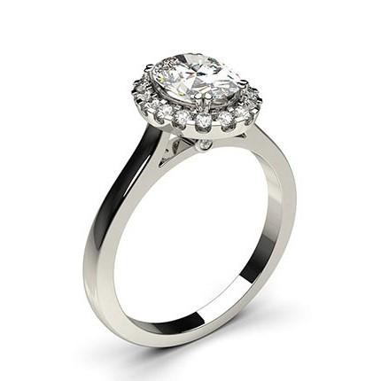 White Gold Oval Halo Diamond Engagement Ring