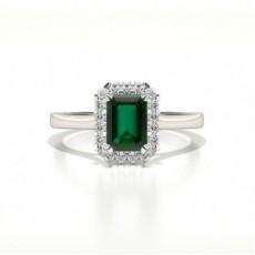 Smaragd Verlobungsring In Halo Diamantform