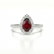 Poire Bague En Diamant Rubis