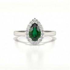 Halo Diamant Birne Smaragd Verlobungsring