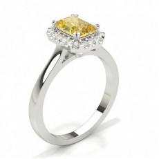 Anillo De Compromiso Con Halo De Diamantes Amarillos Con Clavija