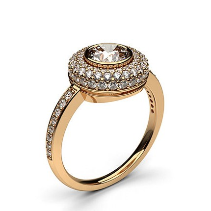 Rose Gold Halo Diamond Engagement Ring