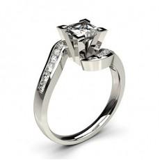 Anillo De Compromiso De Diamantes Con Piedras Laterales Redondas De Oro Blanco