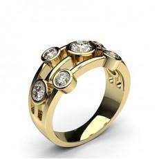 Gult Gull 7 Diamantringer i Stein