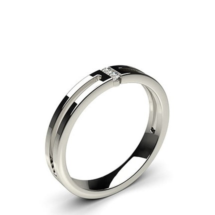Studded Flat Profile Comfort Fit Diamond Wedding Band