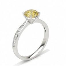 4 prong Yellow Diamond Side Stone Engagement Ring