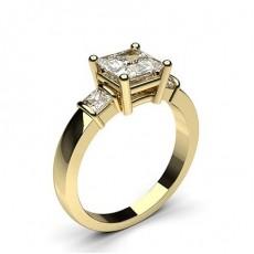 Yellow Gold Princess Trilogy Diamond Engagement Ring