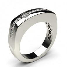 Semi Bezel Setting Round Diamond Mens Ring
