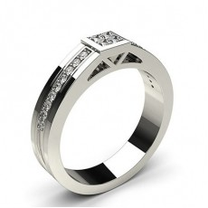 Invisible Setting Round Diamond Mens Ring