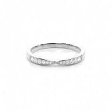 Alliance diamant en profil plat clouté rond serti pavé