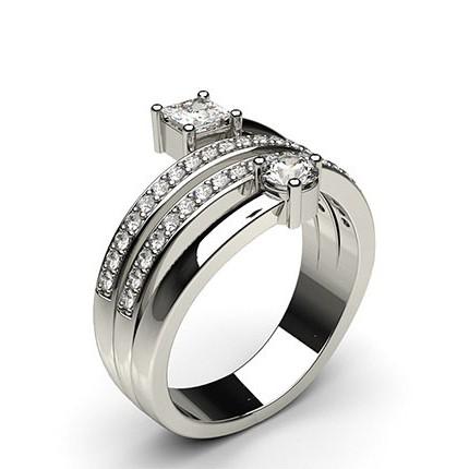 Pave Setting Round & Princess Diamond Fashion Ring