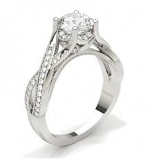 Rund Side Stein Diamantringer