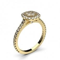 4 Clavijas & Amp; Anillo De Racimo De Diamantes Redondos Con Engaste De Bisel Completo