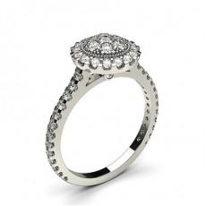 4 Prong & Full Bezel Setting Round Diamond Cluster Ring