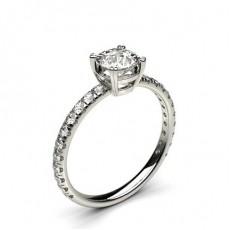 Hvitt Gull Side Stein Diamantringer