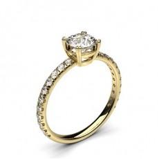 Gult Gull Side stein forlovelsesringer