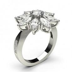 Rund Fatning &Amp; Marquiseslebne Diamant Sidestensringindfatning